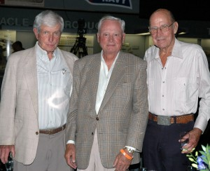 During the 2006 Young Eagles gala, David Tallichet (left) shared a table with good friends Barron Hilton (center) and John Myers, retired Northrop and Lockheed test pilot.