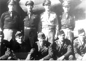 The crew of the Spirit of Pittwood, standing, L to R: Walter Gibson Jr., Milton Alvo, David Tallichet and Donald Israel. Kneeling, L to R: George Murray, Boleslaw Bitel, Farrell Davis, Woodrow Wilson and Leonard Woodruff.