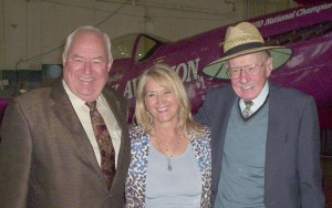 At one of her successful Aviation Career Day events, Barbara Cesar was able to take a few minutes to enjoy the company of longtime friends and aviation legends Clay Lacy (left) and Bob Hoover.