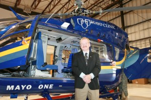 Dr. Dan Hankins, Mayo's director for emergency transport, is enthusiastic about the new capabilities of this aircraft.