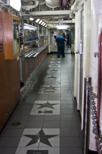 "The USS Ronald Reagan has created its own ""Walk of Fame"" on the enlisted mess decks."