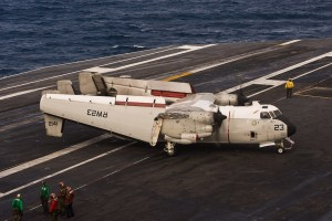 The Northrop-Grumman C-2 Greyhound, flown by Fleet Logistic Support Squadron 30 (VRC-30), the Providers, is used as a carrier onboard delivery aircraft, bringing cargo and passengers to the ship.