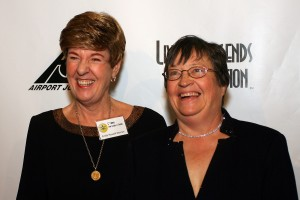 Emily Howell Warner with Laurie Lips on the red carpet, 5th annual Living Legends of Aviation.