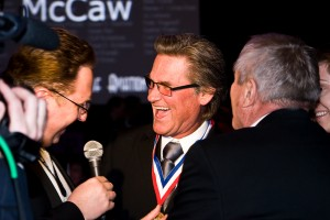 Kurt Russell answers questions about his passion for aviation during the 5th annual Living Legends of Aviation award ceremony.