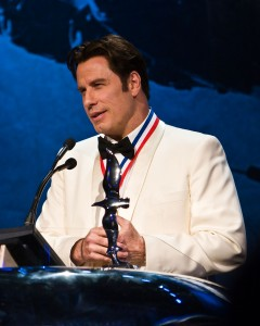 John Travolta receives the Ambassador of Aviation Award during the 5th annual Living Legends of Aviation award ceremony.