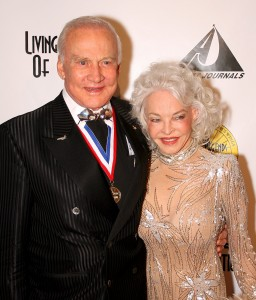 Dr. Buzz Aldrin and wife Lois on the red carpet at the 5th annual Living Legends of Aviation award ceremony.