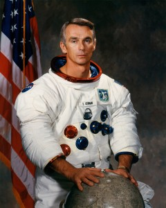 As a naval officer, Gene Cernan logged more than 5,000 hours flying time, with 4,800 hours in jet aircraft and 200 carrier landings. As an astronaut, he logged 566 hours and 15 minutes in space, of which more than 73 hours were spent on the moon's surface
