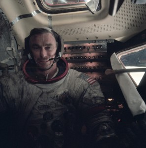 Astronaut Gene Cernan is covered in moon dust after an extravehicular activity.