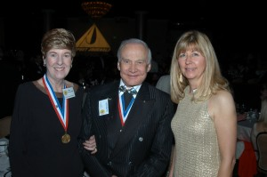 Emily Howell Warner, Dr. Buzz Aldrin and Capt. Sherry Harriman.
