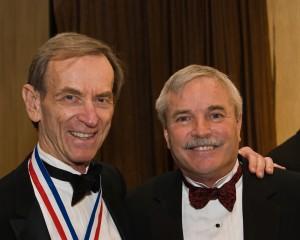 Jerry Lips greets Linden Blue (left).