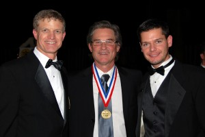 Brian J. Terwilliger (right) visits with Ron Kaplan (left) and Kurt Russell.