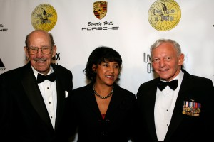 John W. Myers (left) pauses on the red carpet with longtime assistant Janice Merriweather and Gen. Jack Dailey during the 2007 Living Legends of Aviation award ceremony on Jan. 24. He passed away peacefully in his sleep a week later, at the age of 96.