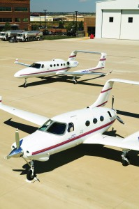 Side by side, it's easy to see the similarities between the A500 (front) and the A700 VLJ. Prior to Adam Aircraft filing Chapter 7 bankruptcy on Feb. 15, the company had four A700s in flight test, working to obtain a full type certificate in 2008.