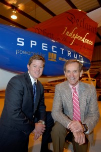 Austin Blue (left), shown with a mock-up of the Independence VLJ, is president and CEO of Spectrum Aeronautical LLC. His father, Linden Blue, founded the company and serves as chairman.