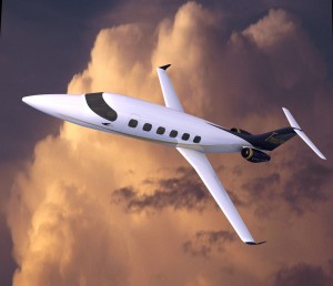 This artist rendering of the nine-place all-composite Freedom VLJ, priced at $6.6 million, shows its six-foot stand-up cabin. The aircraft is scheduled for FAA certification and first deliveries in 2009.