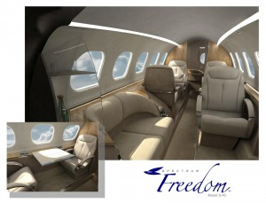 Austin Blue said the Freedom's interior is spacious and has an enclosed lavatory—not what you typically see in today's VLJs.