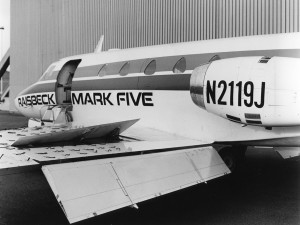 This prototype Sabreliner, with the Mark 5 supercritical wing, full-chord Fowler flaps and wing spoilers, deployed in final configuration for FAA certification in 1978.