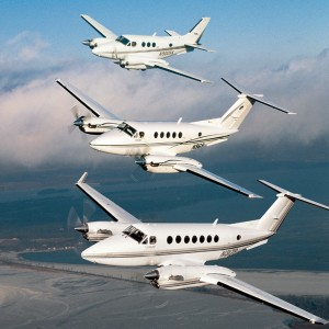 From top: A King Air C90, Super King Air B200 & Super King Air 350 make up a three-ship formation of Raisbeck-equipped King Airs. More than 5k of these King Airs are currently flying, forming the basis of Raisbeck Engineering's successful retrofit program
