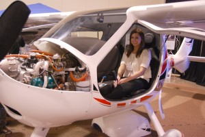 Abby Raymond, an aspiring pilot from Western Michigan University, checks out a light-sport aircraft from Flight Design USA.