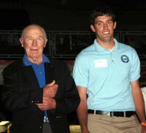 A Young Eagle escorts Gen. Chuck Yeager during the Gathering of Eagles dinner. Yeager held the chairman position from 1995 until 2003.