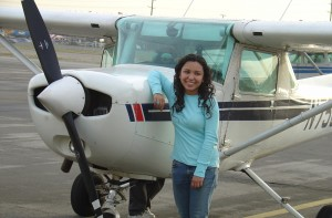 Genesis Rivas is all smiles after her Young Eagles flight. Now a sophomore in college, she says the flight inspired her to major in aeronautical engineering.