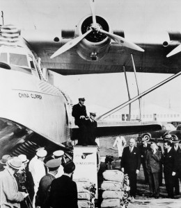 Capt. Edwin Musick and R.O.D. Sullivan next to the China Clipper before leaving San Francisco Bay with the first transpacific airmail. On the ground, L to R: Postmaster Gen. James Farley, Asst. Postmaster Gen. Harllee Branch and Pan Am Pres. Juan Tripp.