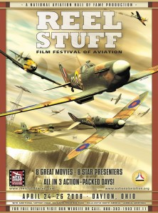 This poster, created for the Reel Stuff Film Festival of Aviation, depicts the harrowing action of the Battle of Britain and the instrumental role both radar and the Spitfire played in the outcome.