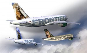 Joe Jones' work with Frontier Airlines resulted in these photo-realistic renderings of their Airbus A-319 aircraft, complete with the Frontier animals.