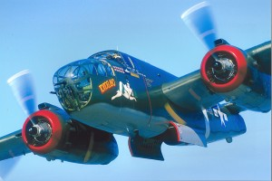 "The Collings Foundation's North American B-25 Mitchell was restored in 2001 as Tondelayo, representing a famous B-25 that flew in the Fifth Air Force's ""Air Apaches"" in the Pacific Theater."