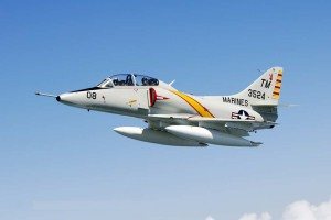 "Another aircraft featured in the Vietnam Memorial Flight, this Douglas TA-4J Skyhawk has been repainted with the markings of ""The Playboys,"" a distinguished all-volunteer fast forward air control group that operated out of Da Nang."