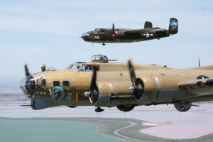 The Wings of Freedom Tour showcases two fully operational WWII bombers: the B-17G Flying Fortress Nine-O-Nine, seen in the foreground, and Tondelayo, a B-25 Mitchell.