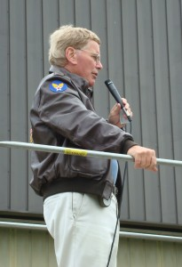 Founder Bob Collings narrates a re-creation of a pitched battle between German paratroopers and an American armored column, during his foundation's Living History weekend in October 2007.