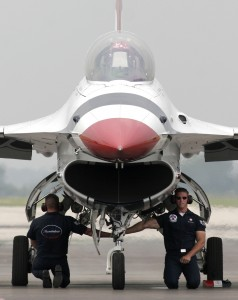 The two-day event draws about 80,000 visitors for the weekend. The air show usually features the Air Force Thunderbirds or the Navy's Blue Angels.