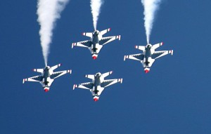 The Thunderbirds performed during the air show on Saturday and Sunday.