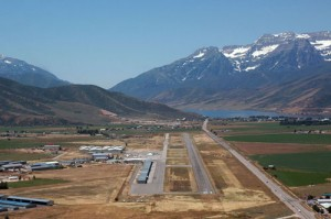 Air show tents were already going up as we turned final approach to Heber City Municipal Airport-Russ McDonald Field. Beyond the field is Deer Creek Reservoir.