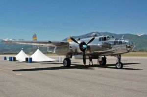 A pristine B-25 bomber offered rides to air show visitors.