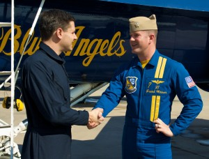 Brian J. Terwilliger thanks Blue Angel #7, Lt. Frank Weisser, for the exhilarating experience. The flight was an introduction to the F/A-18 Hornet's capabilities.
