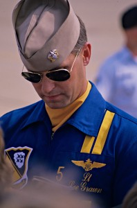 Blue Angel #5, Lee Grawn, is autographing 13-year-old Brian J. Terwilliger's print. Terwilliger kept the print in mint condition until his next meeting with the Blue Angels in 2008, nearly 20 years later.