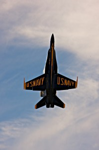 Blue Angel #7, an F/A-18 Hornet, goes vertical on takeoff, soaring into the sky with full afterburners. Brian Terwilliger pulled more than 6 G's on takeoff.