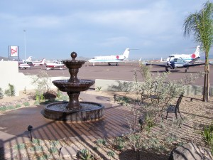 Outside the Atlantic Aviation building, a constantly running fountain provides a cool oasis for customers waiting for their flight to arrive.