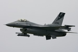 The California Air National Guard F-16 Viper approached the air show center low and fast.