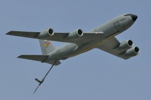 A Boeing KC-135 air refueling tanker, from near by March Air Reserve Base, made a few demonstration passes.