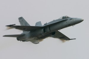A Marine Corps F-18C Hornet from the VFA-125 Rough Riders, based at Lemoore, Calif., made a few high-speed passes before landing.