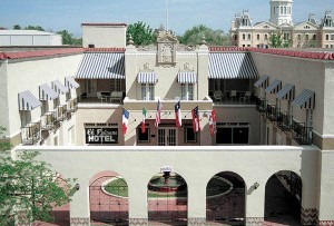 Guests of the historic El Paisano Hotel can enjoy its beautiful courtyard.