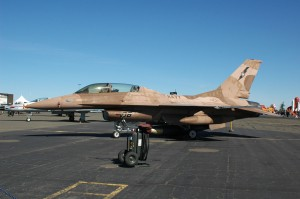 An F-16B Aggressor based at Fallon NAS makes a visit.