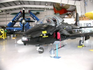 One of the unusual aircraft at the Olympic Flight Museum is this British BAC 167 Strikemaster, used as multi-purpose ground attack and reconnaissance aircraft in many countries until the 1990s.