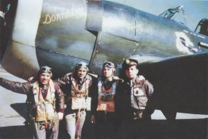 Henry Miklajcyk, Stan Miles, Langhorn Gee, and Leo Northrop with Donna Dae before overseas deployment. The pilots received extensive P-47 training and virtually none in the Mustang.