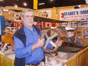 In his booth at the 2008 Northwest Aviation Conference in Puyallup, Wash., last February, Bob Dempster showed off the steering wheel he built for his 1924 World Cruiser replica.