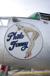 "The B-25 bomber used to film scripted dogfights during filming of ""Showdown: Air Combat"" is aptly named ""Photo Fanny."""