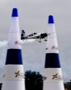 Two-time Red Bull Air Race champion Mike Mangold displays a perfect line through a horizontal gate.
